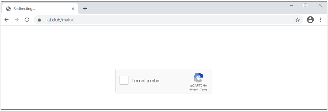 Screenshot of landing page with CAPTCHA challenge