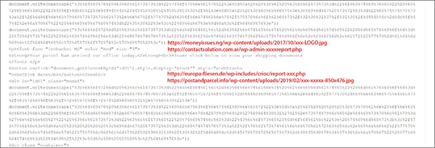 HTML code showing encoded phishing kit domain, with the decoded URLs in overlay