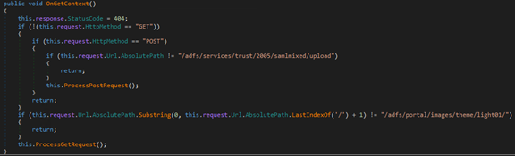 Screenshot of code showing the listener handling the request using either an HTTP GET or HTTP POST callback/handler method