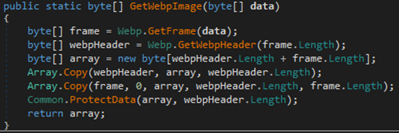 Screenshot of code for GetWebpImage() method masquerading the output of the C2