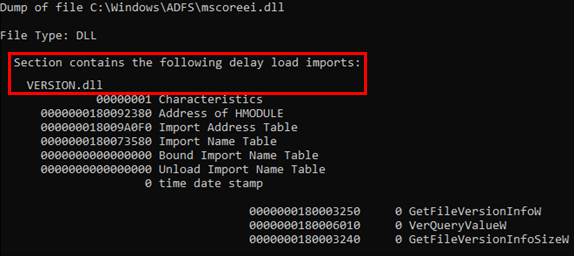 Screenshot showing mscoreei.dll has a delay load import (Delay Import) named version.dll