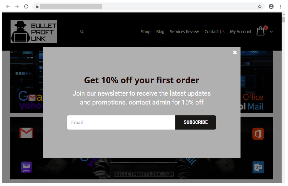 Screenshot of 10% discount offered to those who will sign up for newsletter