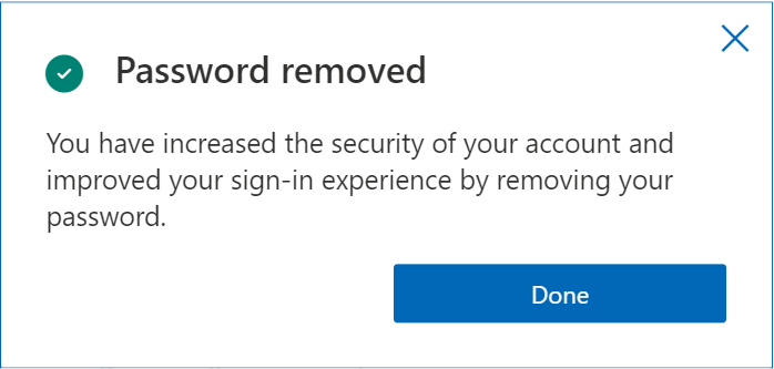 Microsoft Authenticator screen showing password has been successfully removed.