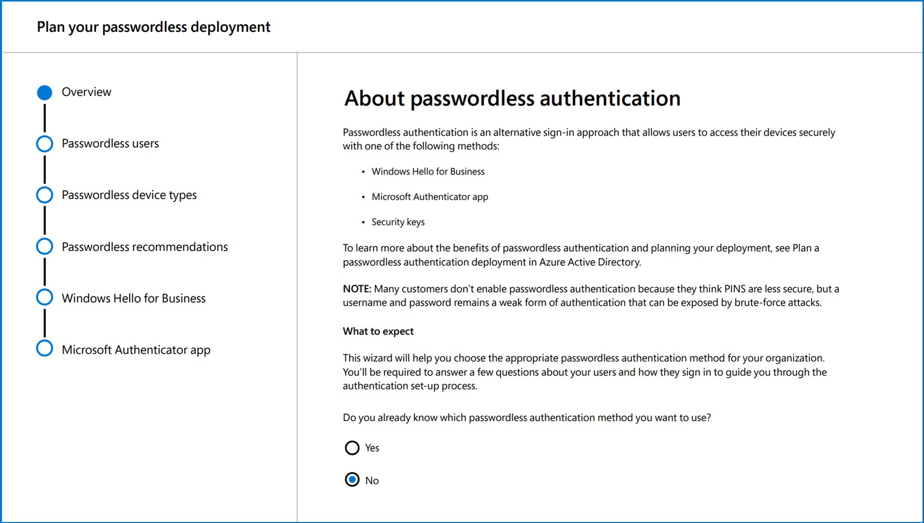 Password authentication sign in approaches include Windows Hello for Business, the Microsoft Authenticator App, and Security Keys.