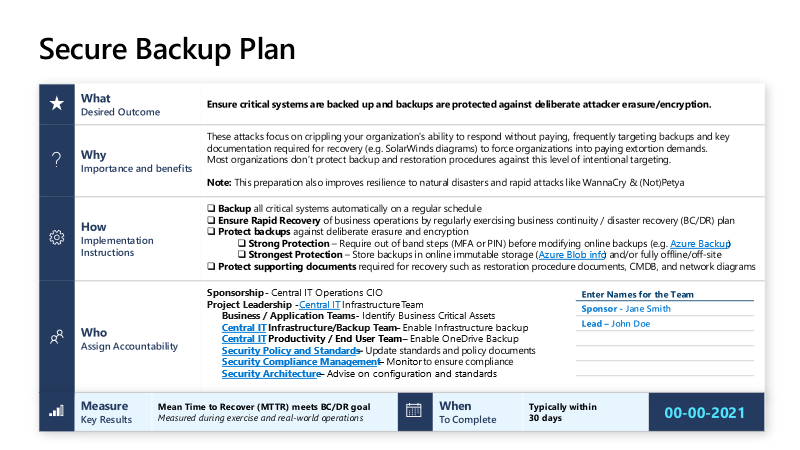 Secure backup instructions from Microsoft's human-operated ransomware page.
