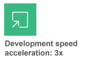 Graphic depicting development speed acceleration at 3 times.