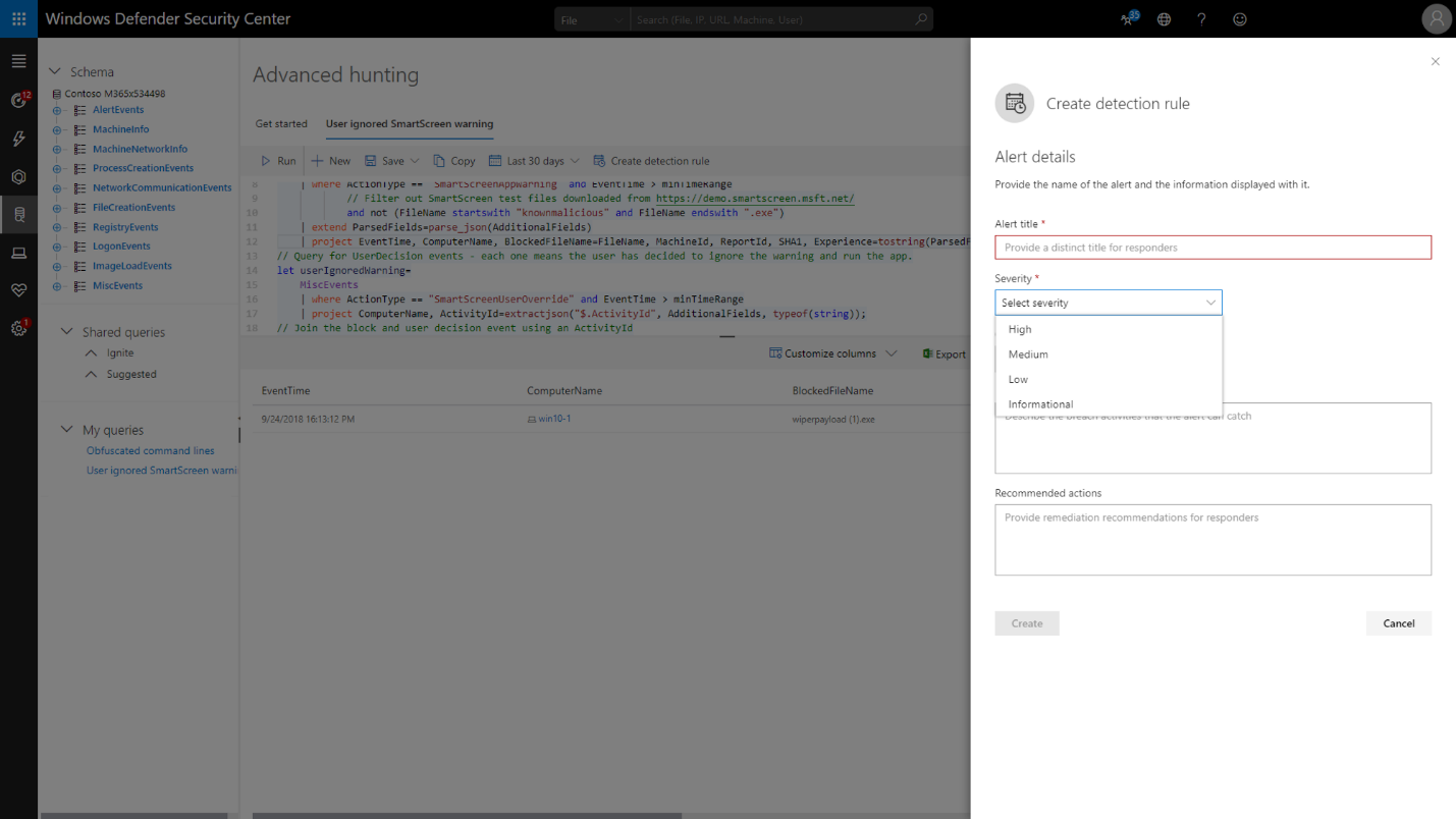 Creating custom detection rules from advance hunting queries.