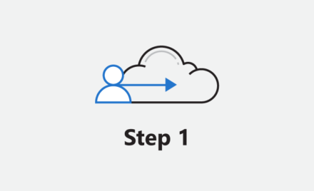 "Image of a cloud with an arrow through it, beneath it the words ""Step 1."""