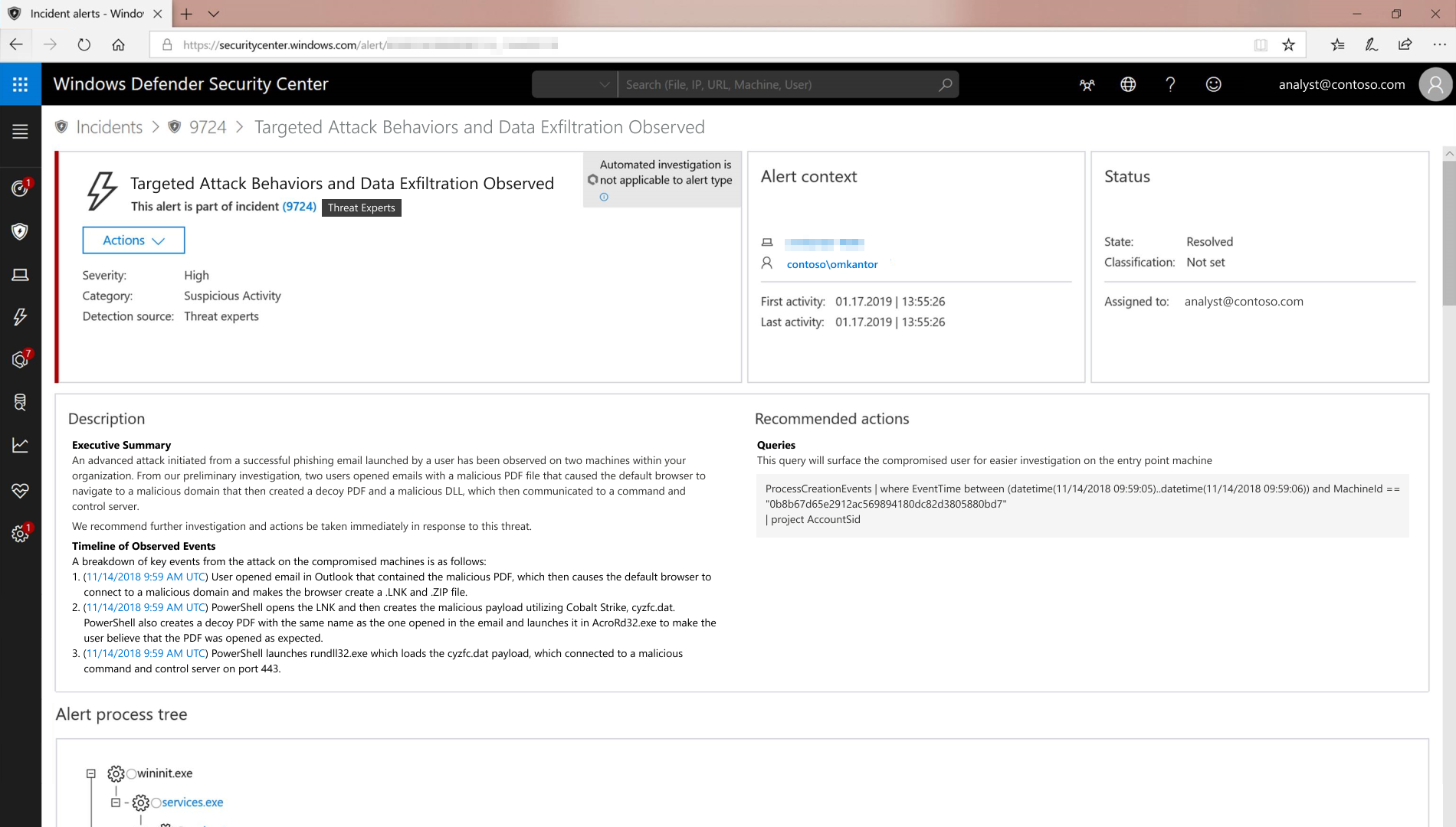 Custom Threat Experts alert in Windows Defender Security Center