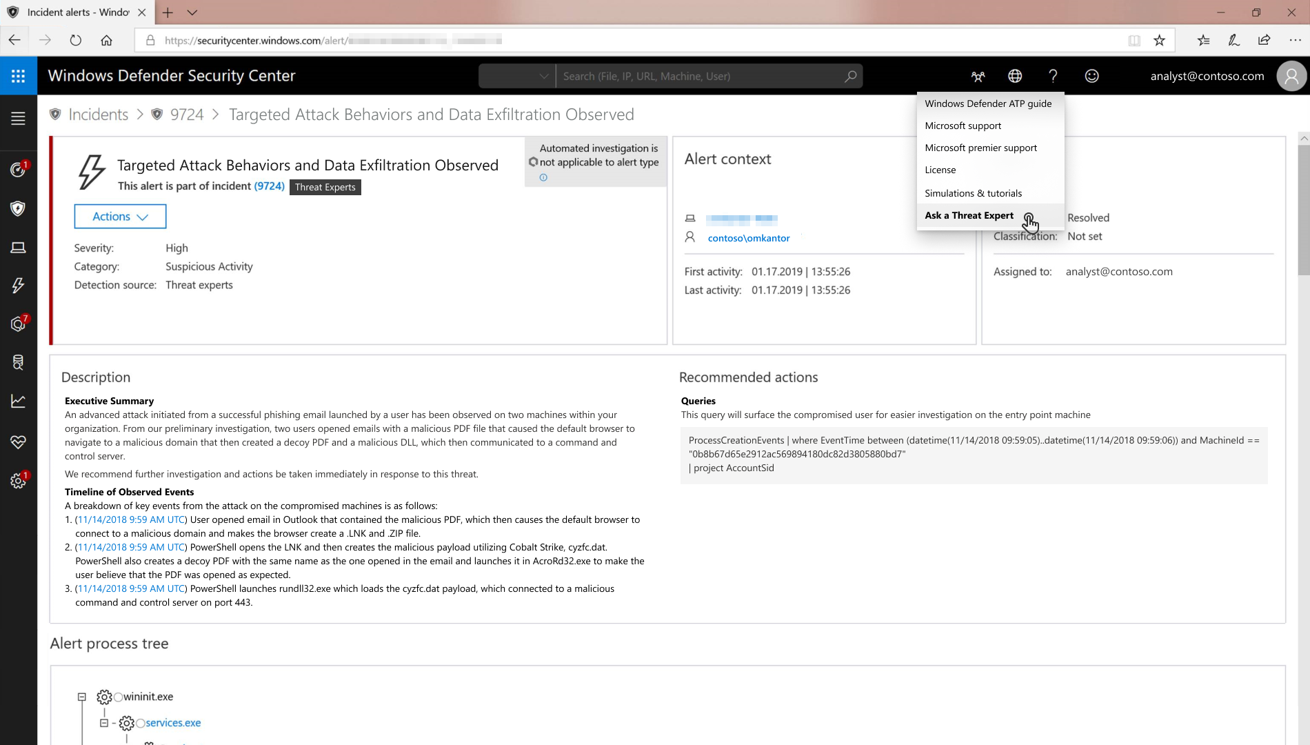 Ask a Threat Expert button in Windows Defender Security Center