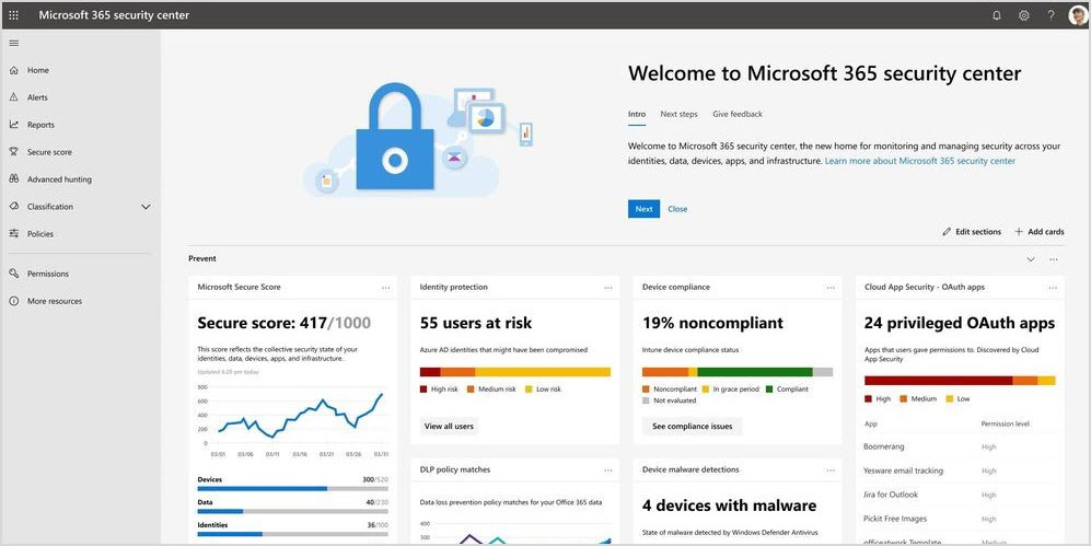 Screenshot of the new Microsoft 365 security center.