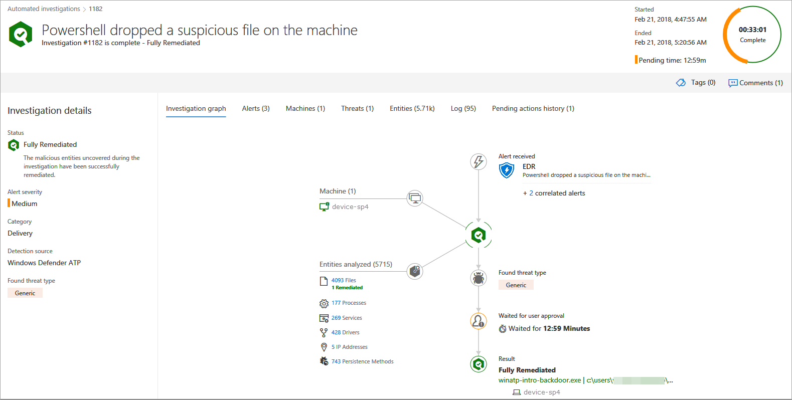 Image showing automated investigations in Microsoft Defender ATP.