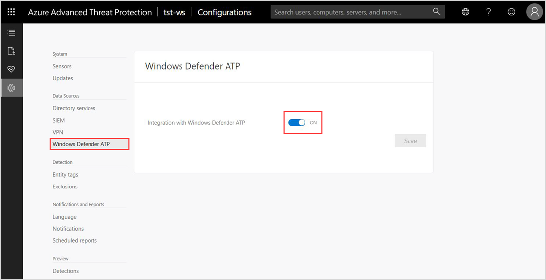 Screenshot showing the Integration with Windows Defender ATP toggle switched to ON.