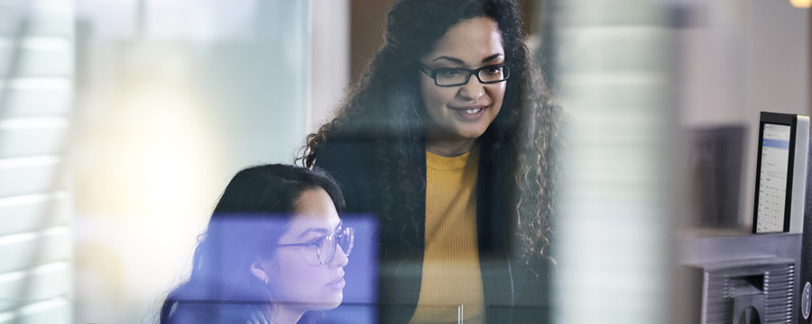 Two adult women working together at a computer.