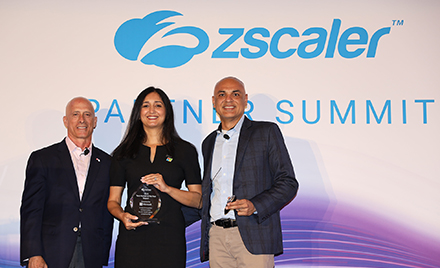 Image of Microsoft accepting the Technology Partner of the Year Award at Zscaler's Partner Summit.