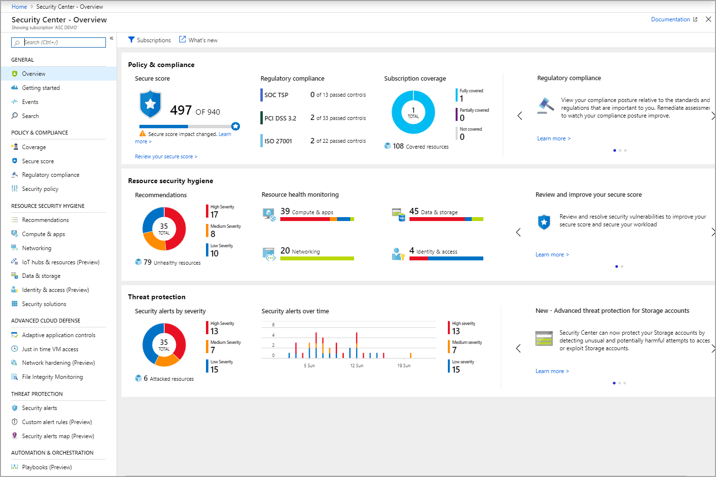 Screenshot of the Overview in the Azure Security Center.