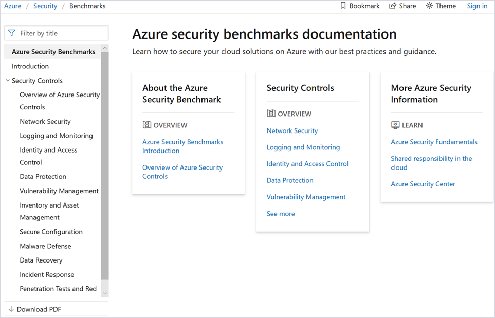Image of Azure security benchmarks documentation in the Azure security center.