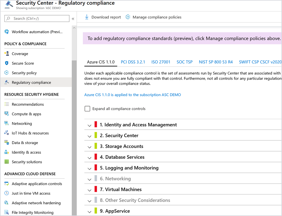 Image showing regulatory compliance standards in the Azure security center.