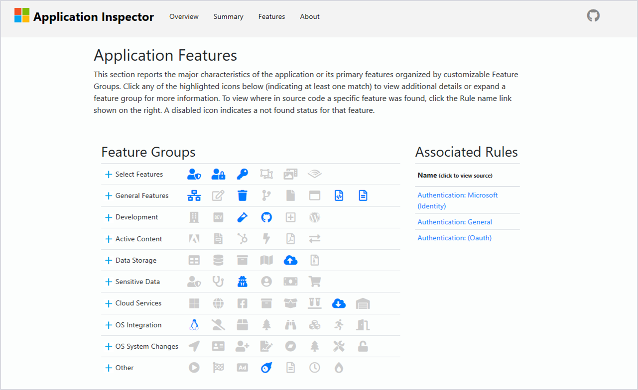 Image of Feature Groups in Microsoft Application Inspector.