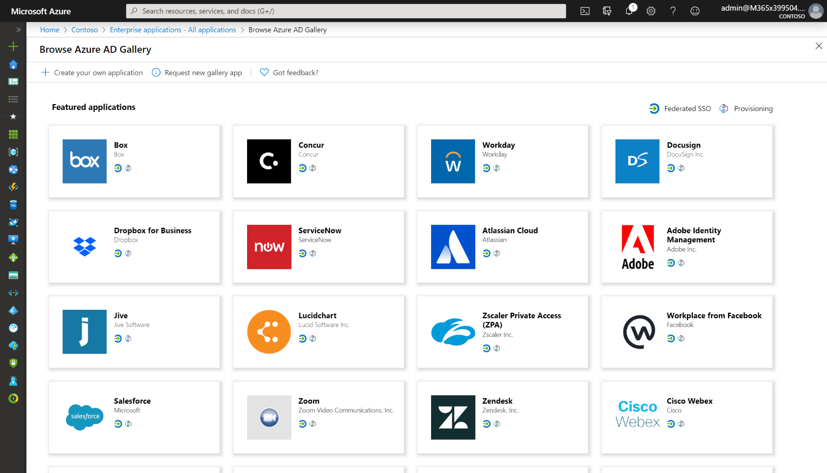Screenshot showing apps in the Azure AD Gallery.