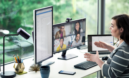 Image of a remote worker conferencing.