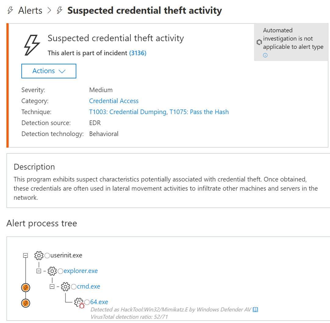 Microsoft Defender ATP alert for credential theft