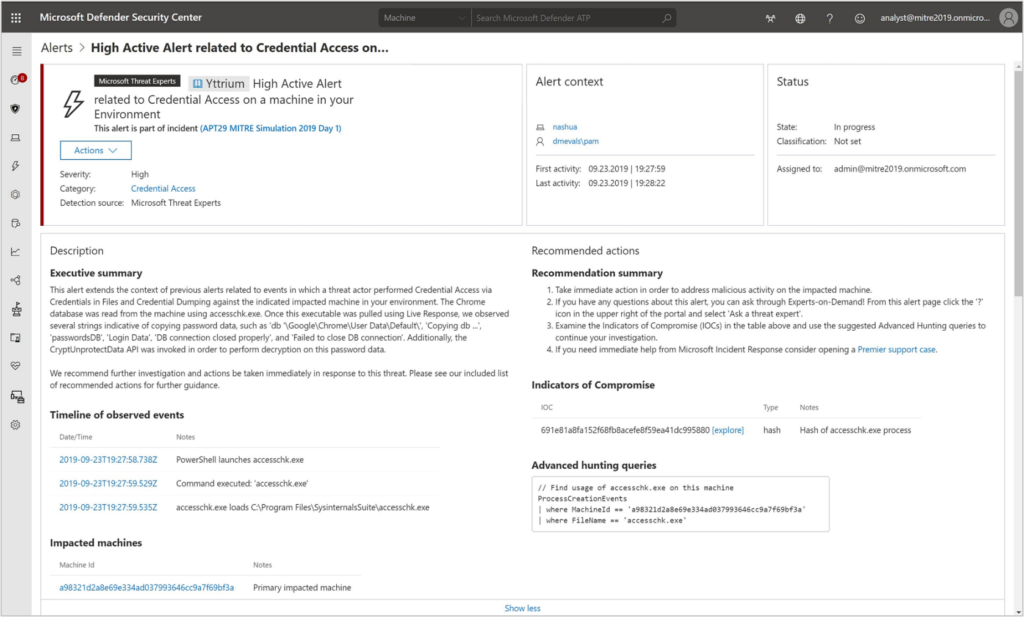 Figure 8: Microsoft Threat Experts alert integrates into the portal and provides hyperlinked rich context.