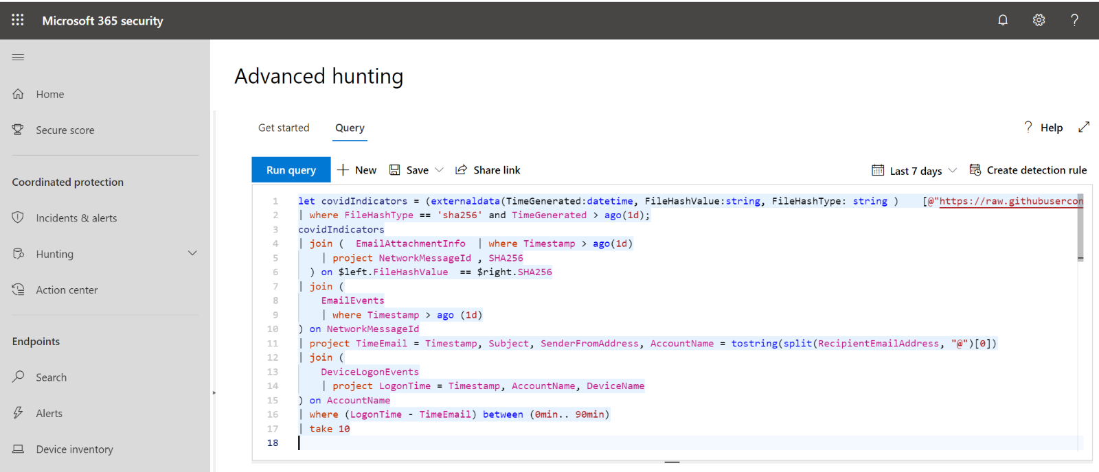 Advanced hunting in Microsoft 365 security.