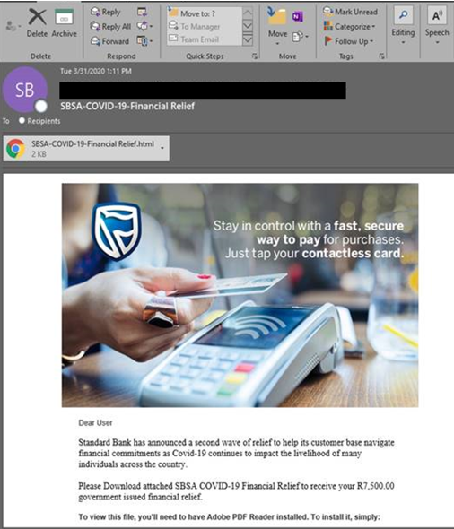 Financial relief phishing email.