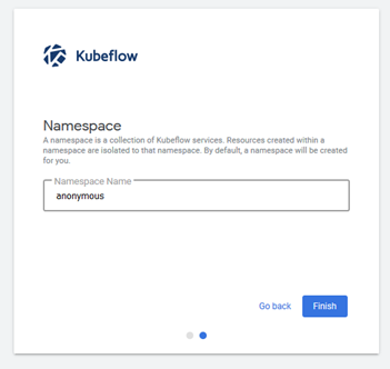 In first access to Kubeflow, the user is prompted to create a namespace.