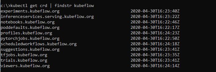 Kubeflow creates multiple CRDs in the cluster.