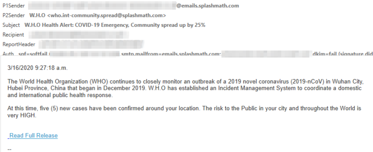 Sample phishing email with COVID-19 themed lure
