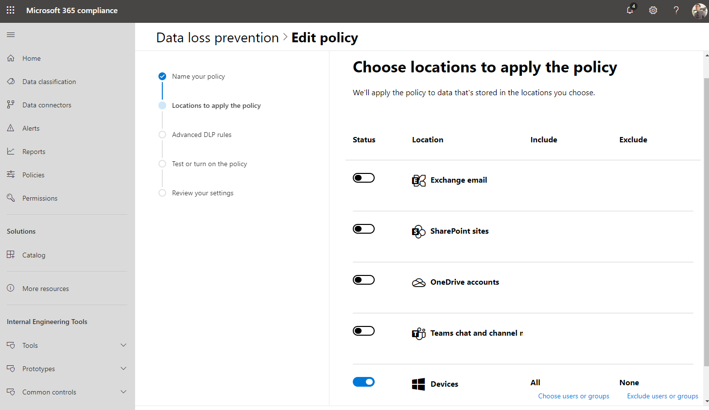 An image showing how you can manage your data loss prevention policies across Microsoft 365 from one location – the Microsoft 365 compliance center.