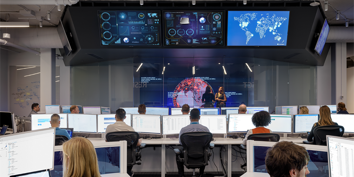 An image of the Microsoft Cyber Defense Operations Center.
