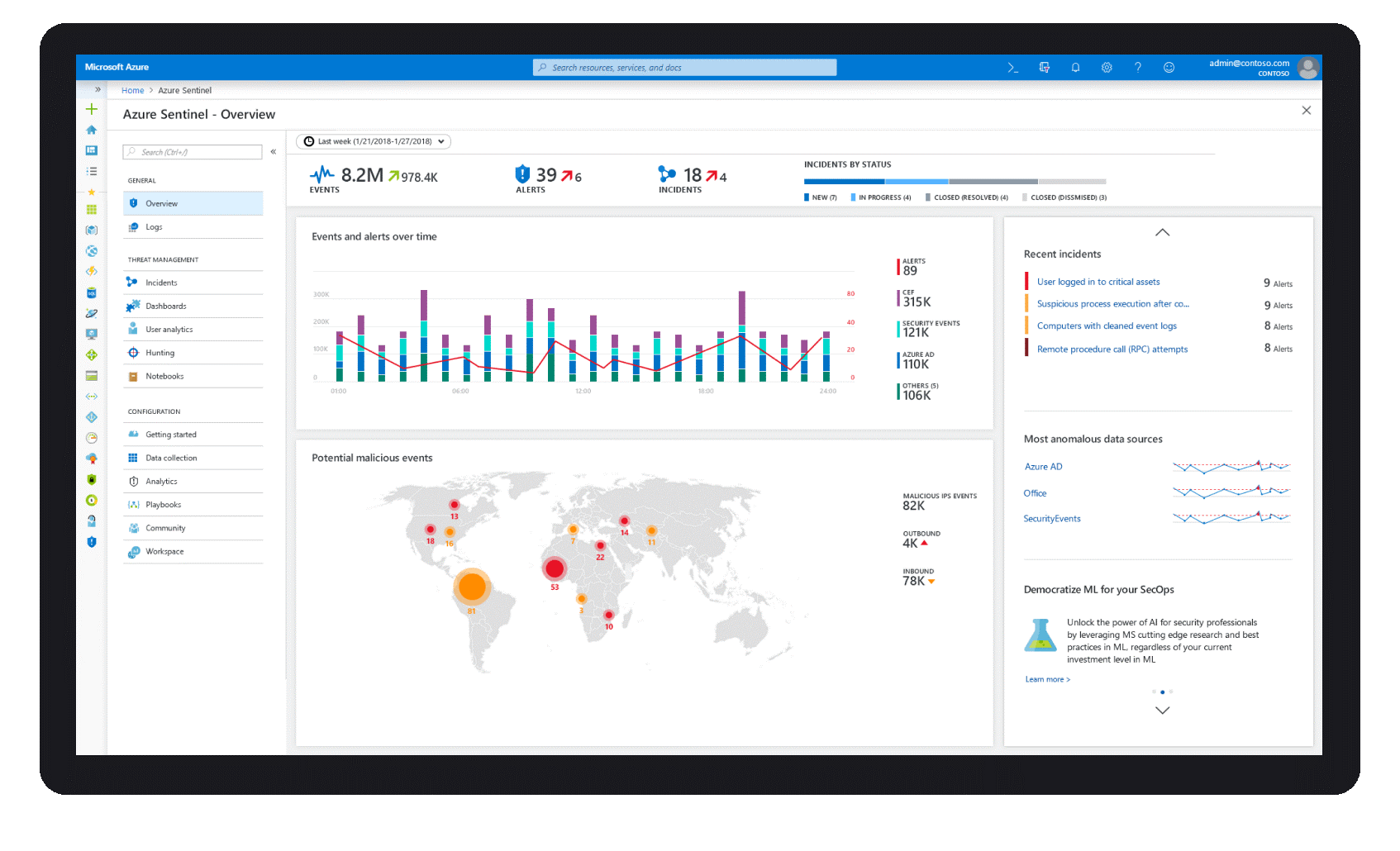 : Azure Sentinel makes it easy to collect security data across your entire hybrid organization from devices, to users, to apps, to servers on any cloud.An image showing how