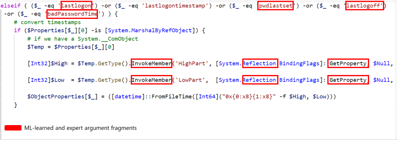 Code snippet of Kerberoasting showing featurized details