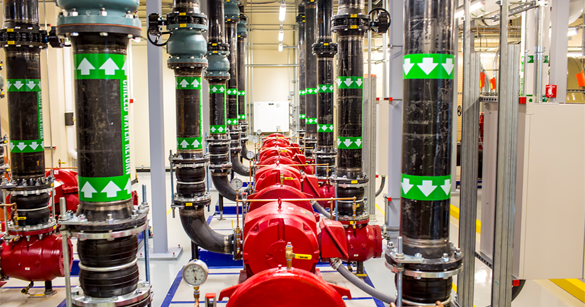 An image of a state-of-the-art facility uses eco-friendly solutions such as using reclaimed water to cool the data center.