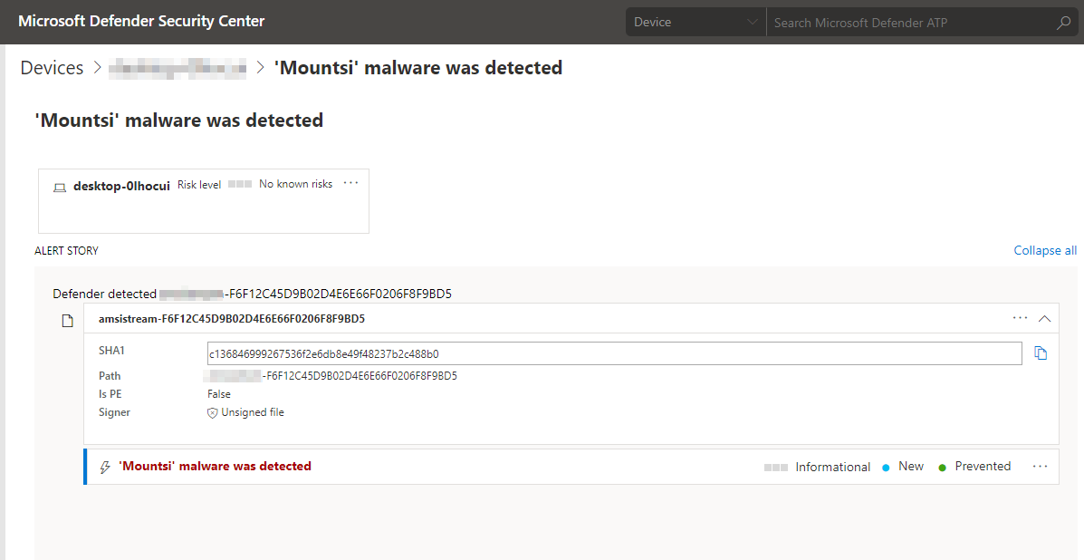 Screenshot of Microsoft Defender Security Center showing detection of SharpHound