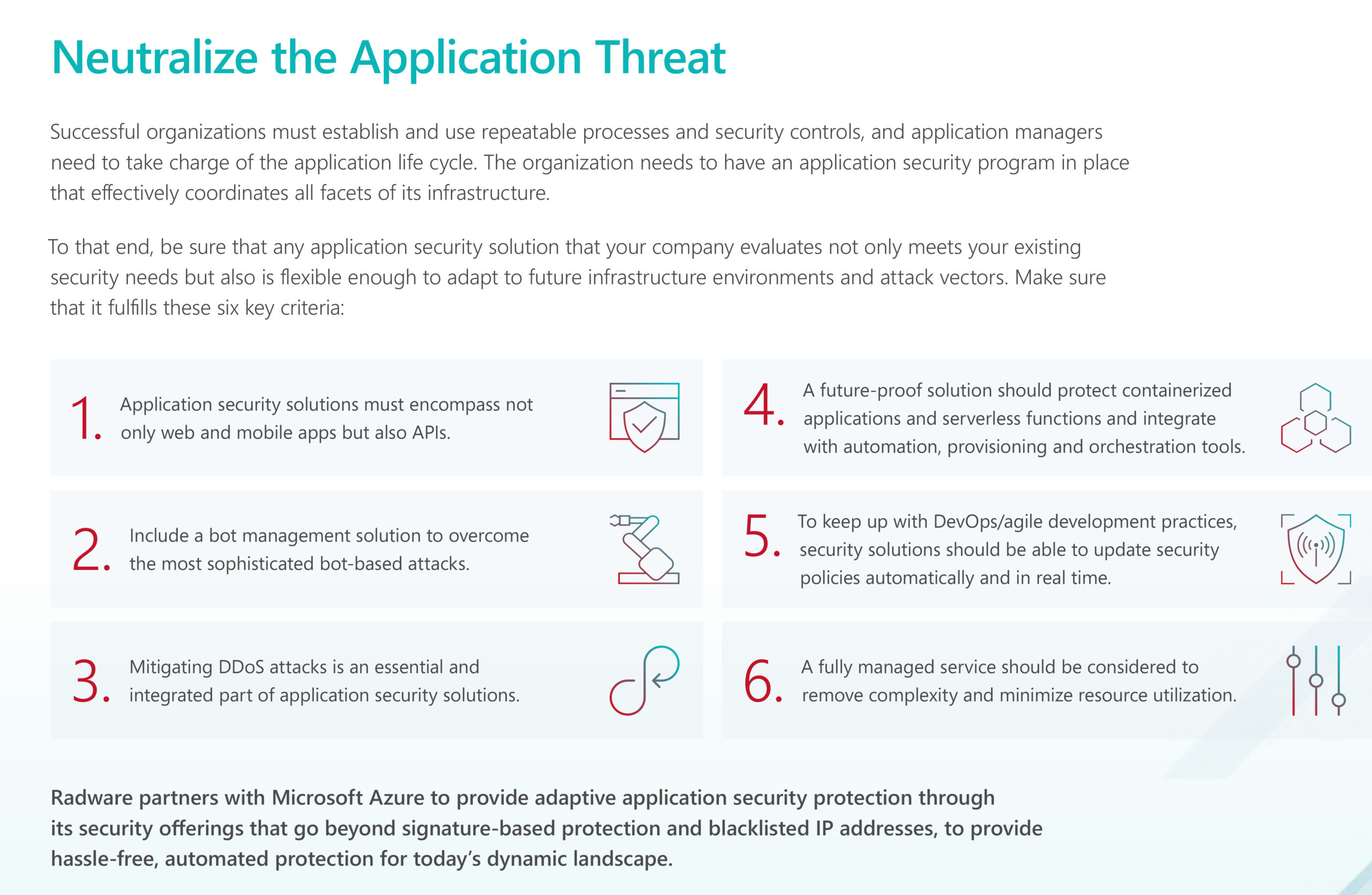Details on security solutions offered by Radware Security for Azure