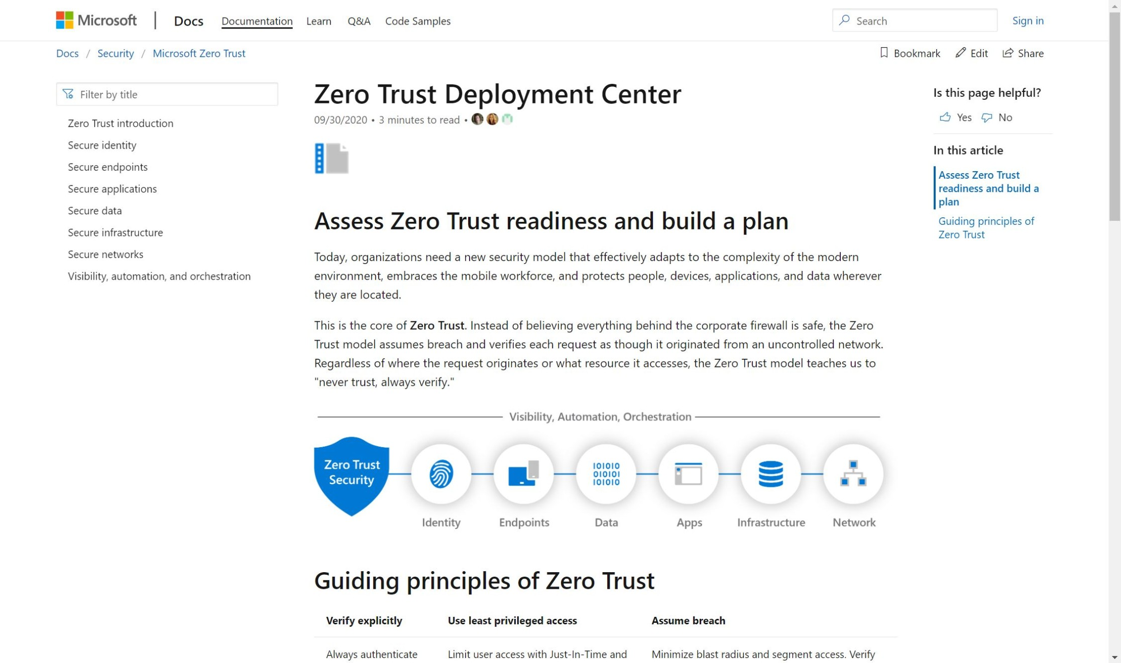 A screenshot of the Zero Trust Deployment Center web page