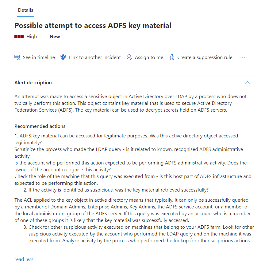 Screenshot of Microsoft Defender Security Center alert of Possible attempt to access ADFS key material