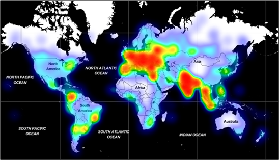 World map showing volume of devices that have encountered Adrozek