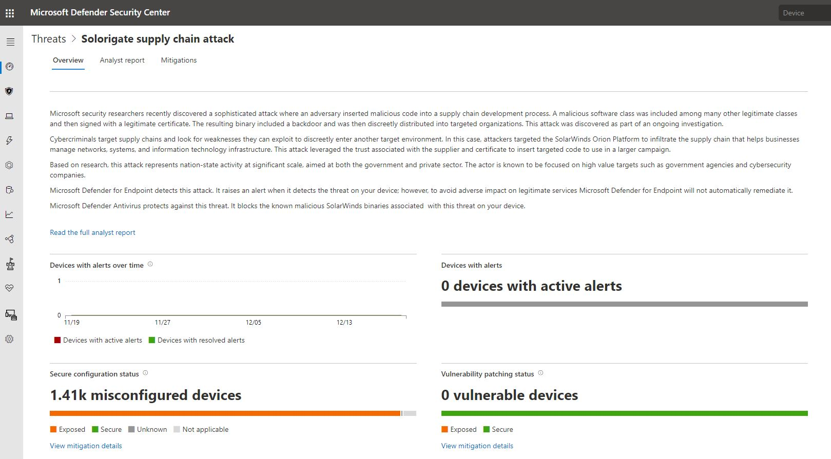Screenshot of threat analytics report on Soloriage in Microsoft Defender Security Center