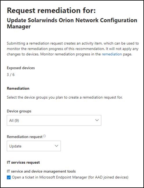 Screenshot of threat and vulnerability management remediation options
