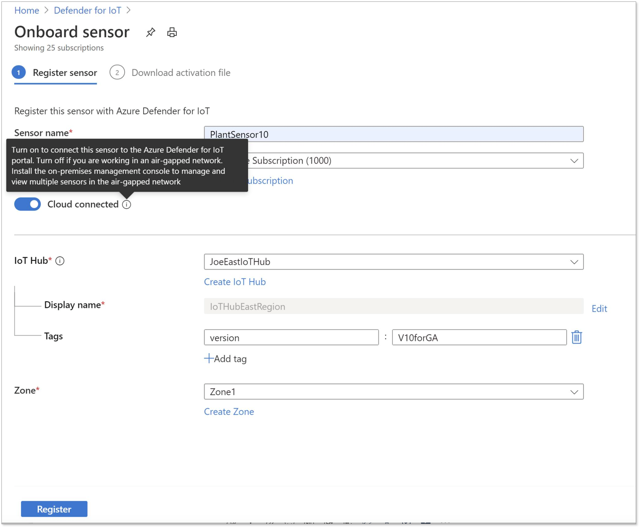 Onboarding the network sensor to connect to Azure Sentinel via Azure IoT Hub