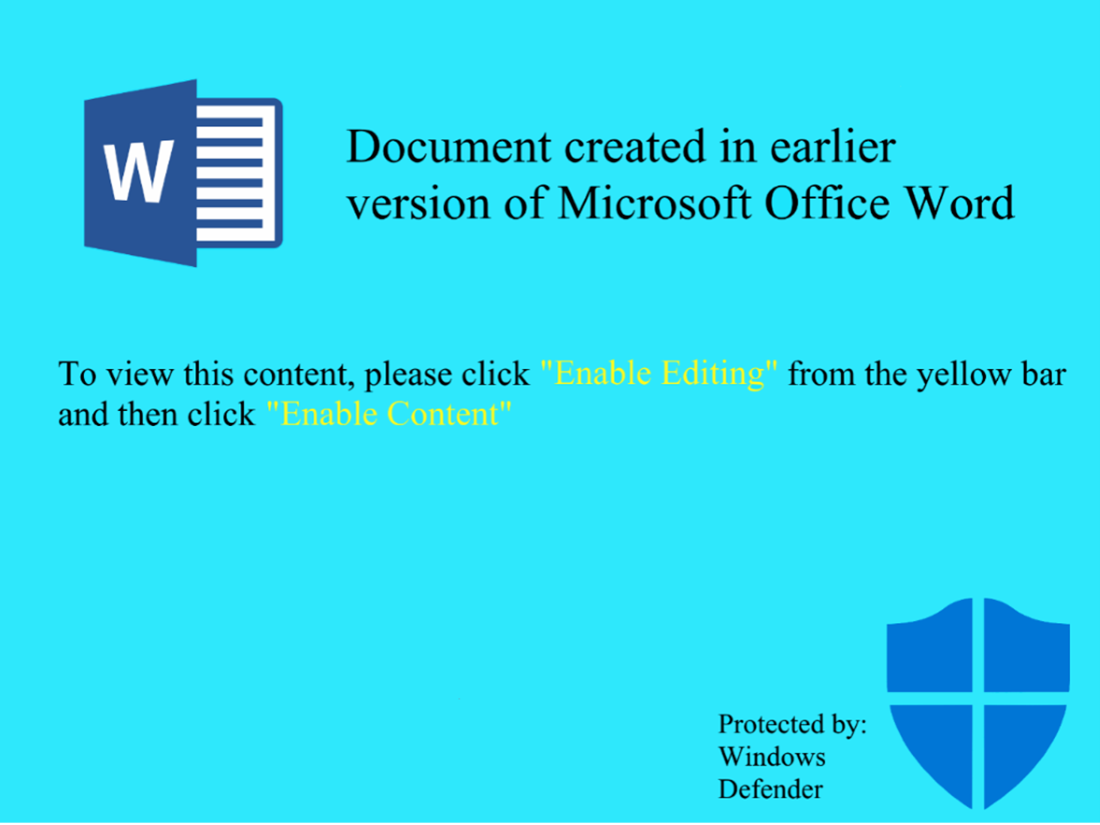 Screenshot of malicious document