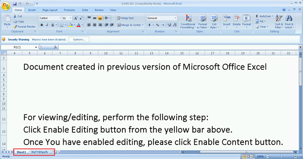 Screenshot of malicious Excel file used in Zloader campaign