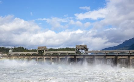Dam and hydroelectric power facility.