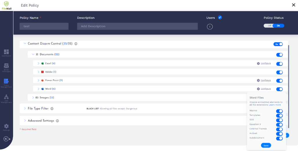 Screenshot of FileWall's Content Disarm Control.